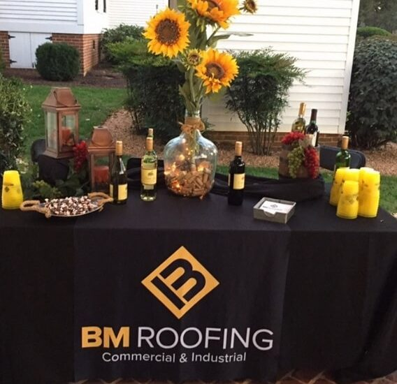 B&M Roofing party table